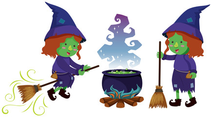 Two witches and magic brew pot