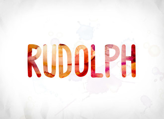 Rudolph Concept Painted Watercolor Word Art