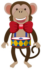 Funny monkey with small drum