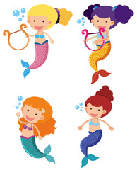 Four mermaids with happy face