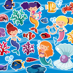 Seamless background with mermaids and fish