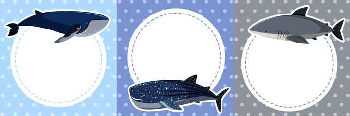Background design with whales and shark