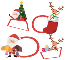 Christmas labels with Santa and reindeer