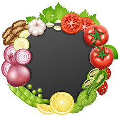 Border template with different types of vegetables