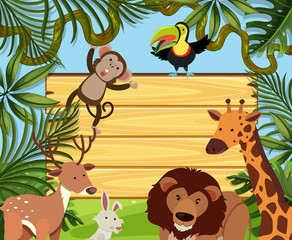Wooden board template with wild animals