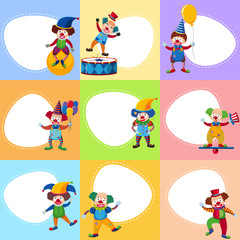 Background template with funny clowns