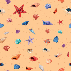 Seamless background template with seashells and starfish