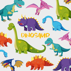 Background design with many cute dinosaurs