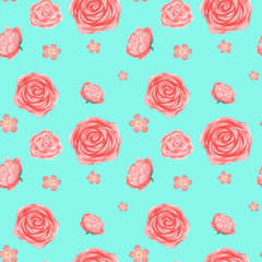 Seamless background template with pink roses
