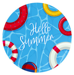 Summer theme background with safety floats on water