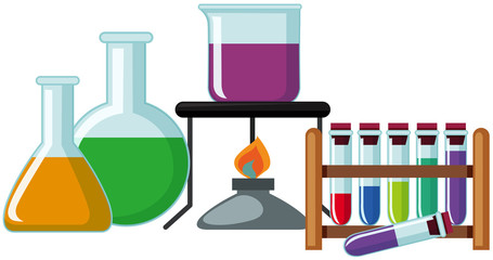 Science beakers with colorful chemical