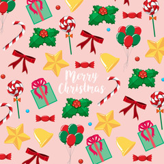 Merry Christmas card template with presents and candy