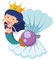 Cute mermaid and purple pearl