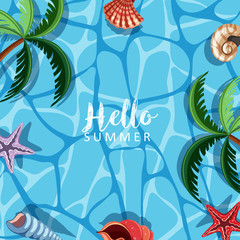Summer theme with seashells and ocean