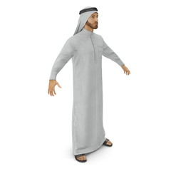 Arabic businessman wearing traditional clothes on white. 3D illustration