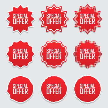 Collection symbols tag Special offer. Vector illustration