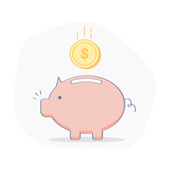 Piggy bank simple vector illustration in flat layout style, savings, bank, money deposit icon concept.