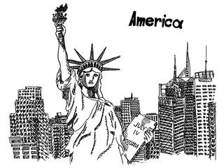 statue of liberty postcard america sketch of new york