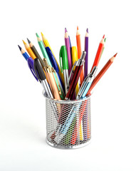 Stationery on white background.Various school subjects.Office and student accessories.