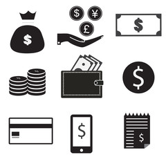 9 vector icon set. dollar bag, money on hand, money, coin stack, wallet, dollar, credti card, mobile pay, receipt. set money on white background.