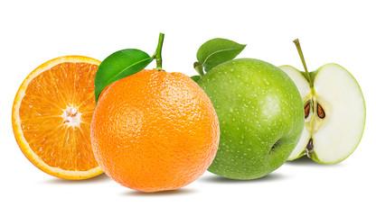 Fototapete - apple  and orange isolated on white background