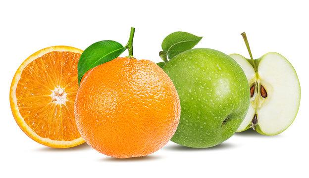 apple  and orange isolated on white background