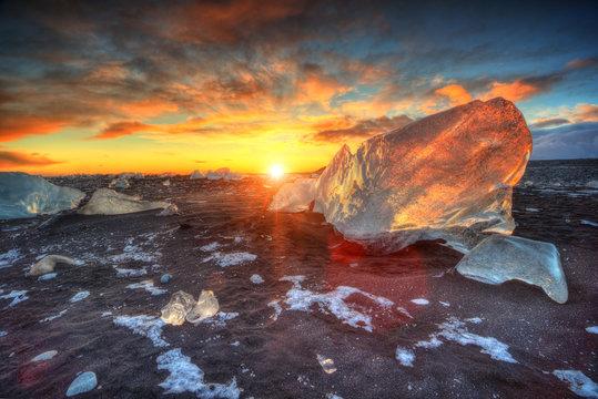 Beautiful sunset over famous Diamond beach, Iceland