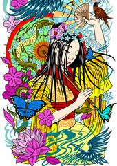 Beautiful geisha with an umbrella