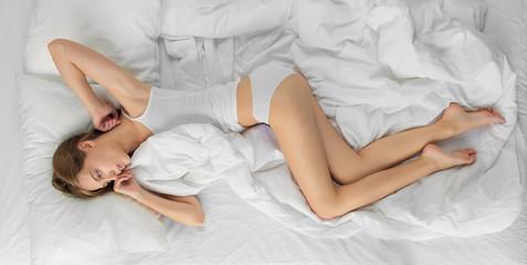 Morning after sleep, beautiful woman.