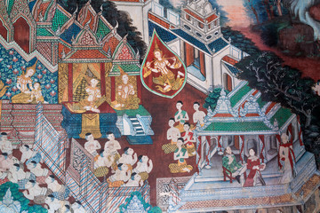 Ancient traditional mural painting in temple Thailand.
