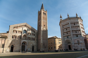 The baptistery and the cathedral of Parma