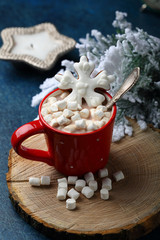 Hot winter drink in red mug