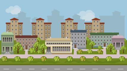 Urban landscape cartoon background
