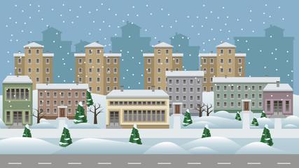 Winter cityscape cartoon background