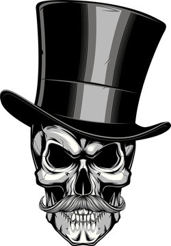Moustached skull in a hat.