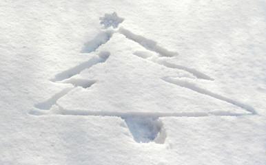 Christmas tree drawn in snow