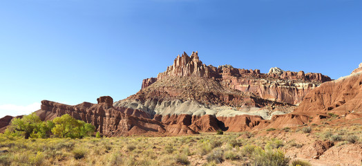 Panorama of Eroded Landscape of Capital Reef National Park, Utah