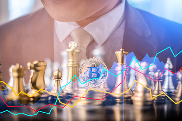 business strategy ideas concept with bitcoin and chess board game