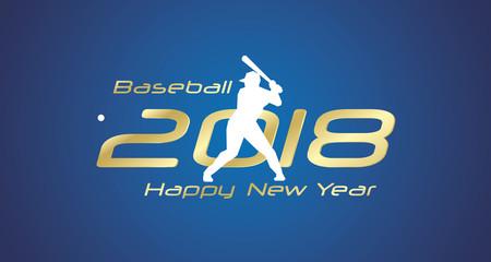 Baseball strike 2018 Happy New Year gold logo icon blue background
