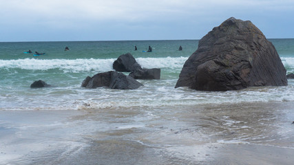 Beach on Lofoten in Unstad, Norway. Best place for Arctic surfing