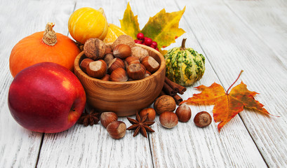 Hazelnuts and pumpkins
