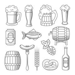 Set of beer icons isolated on white background