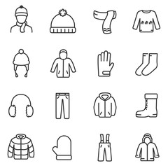Winter clothes icons set. Jackets, a sweater with deer, gloves and more, linear desig. Line with editable stroke