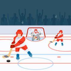 Hockey players on the field and fans on the podium. Vector illustration