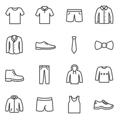Clothing for men icons set. Collection of various clothes. Line with Editable stroke