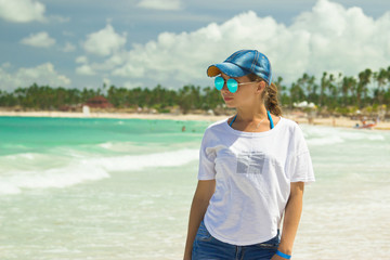 A girl on the beach in Punta Cana, Dominican Republic.