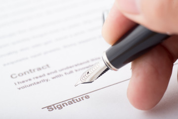 signaure for contract with fountain pen