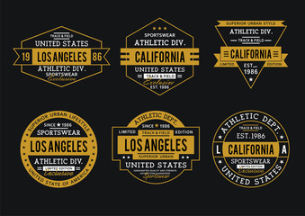 Set Los Angeles California athletic sports for t-shirt print