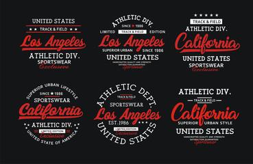 set athletic sport LA t-shirt graphic, vector image