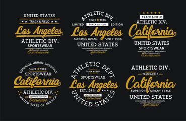 Set LA California athletic sport for t-shirt